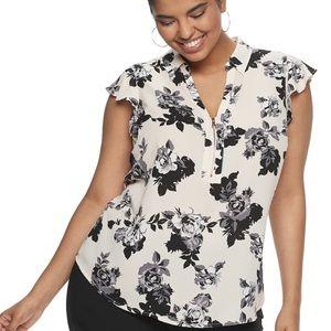Candie's zip front flutter sleeve top XL